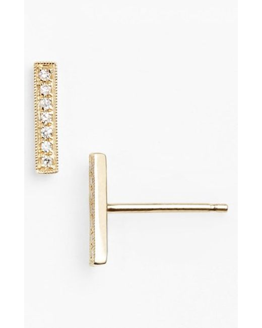Dana Rebecca | Yellow 'sylvie Rose' Diamond Bar Stud Earrings | Lyst