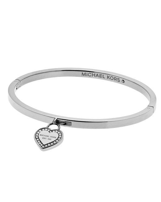 Michael Kors Mk Logo Heart Charm Bracelet In Silver Lyst