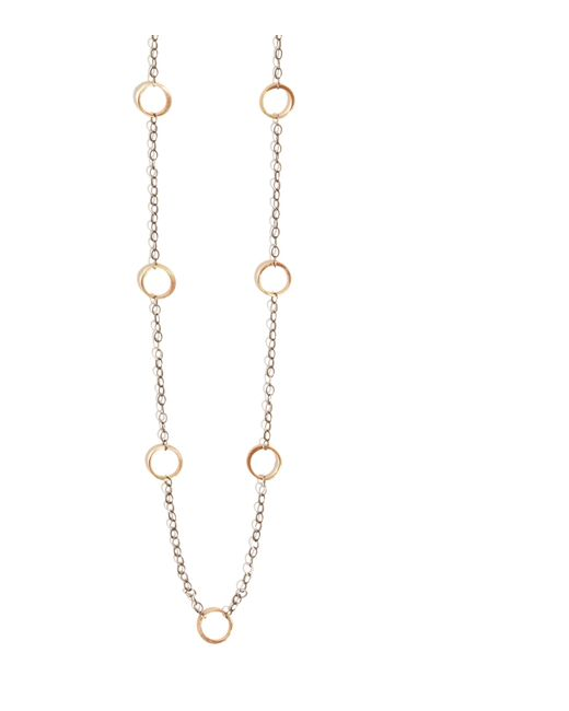 Melissa Joy Manning | Metallic Oxidized Silver Chain Necklace With Gold Circle Details | Lyst