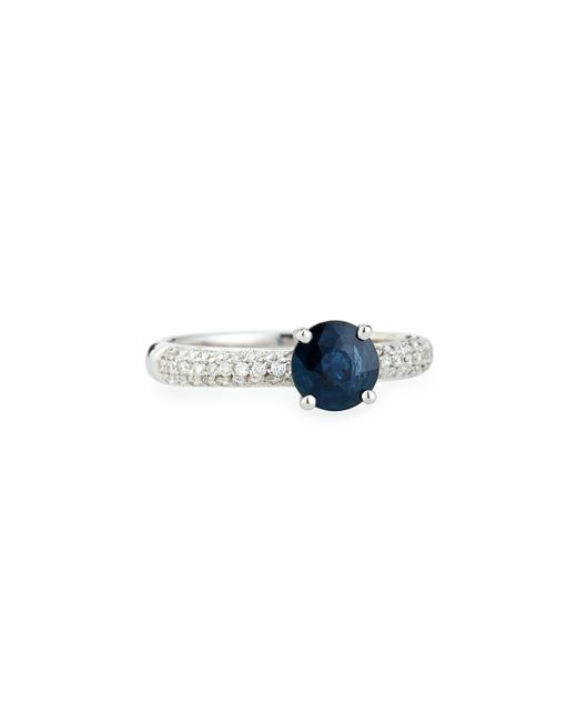 Roberto Coin | Blue Sapphire Solitaire Ring With Pavé Diamond Band | Lyst