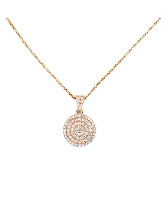 Azendi | Metallic 18ct Rose Gold Vermeil Pavé Circle Pendant | Lyst