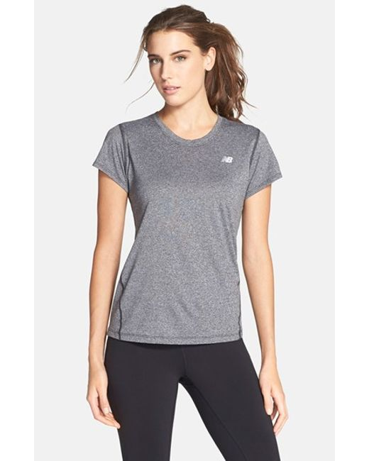 New Balance | Gray Heathered Short Sleeve Tee | Lyst