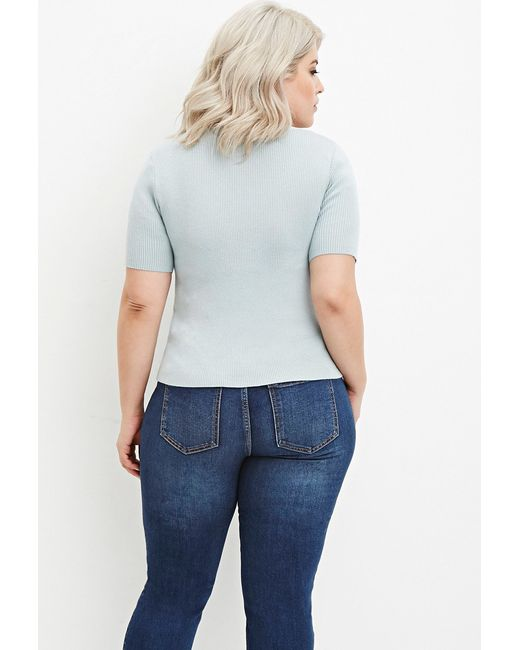 Forever 21   Blue Plus Size Classic Ribbed Top   Lyst