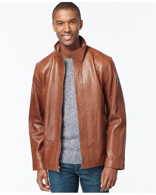 Marc New York | Brown Zip-front Leather Jacket for Men | Lyst