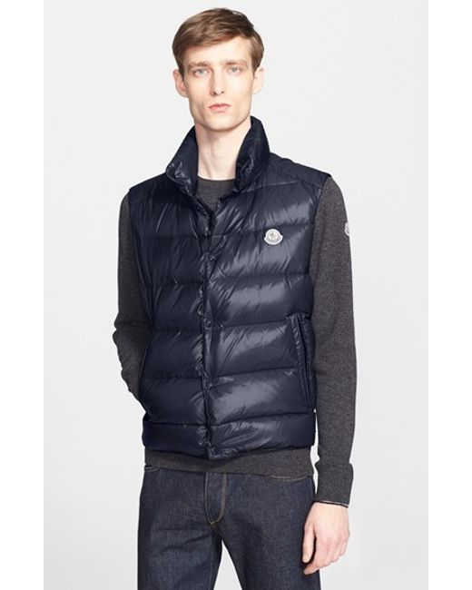 Moncler | Blue 'Tib' Down Vest for Men | Lyst