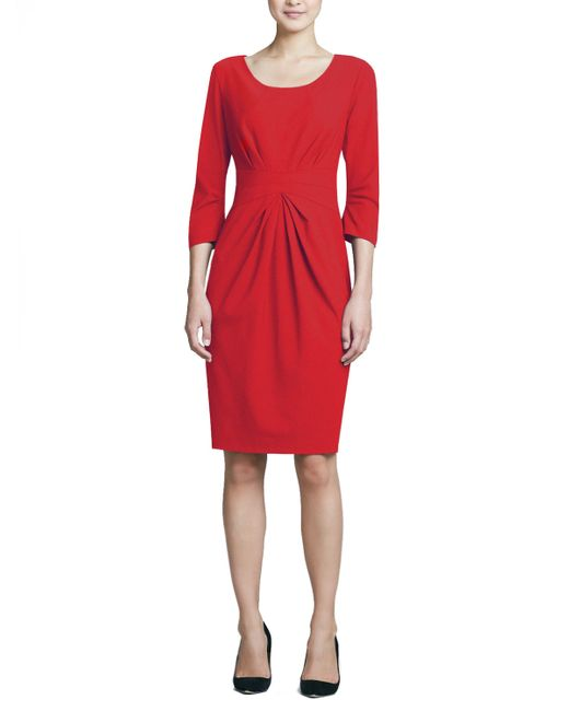 Lafayette 148 New York | Red 3/4-sleeve Center-pleat Sheath Dress | Lyst