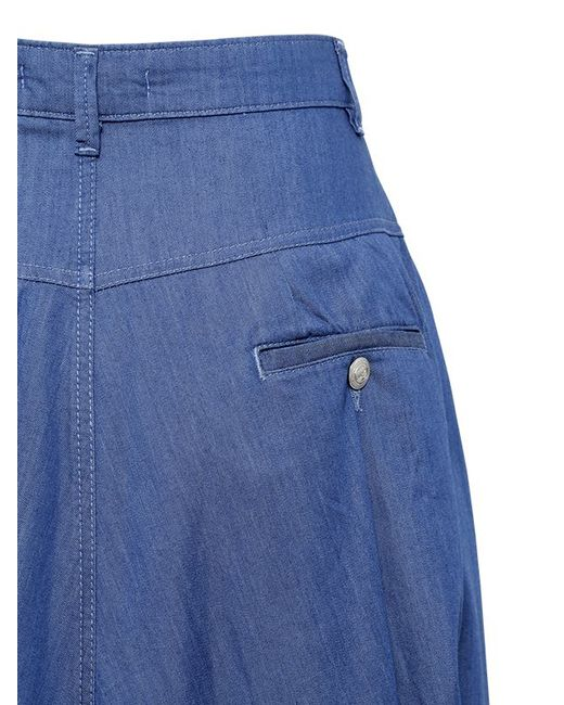 balmain cotton blend denim skirt in blue save 51