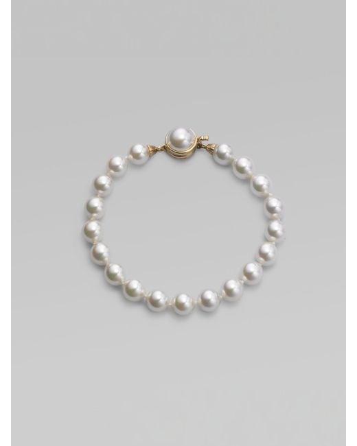 Majorica   8mm White Pearl Strand Bracelet   Lyst