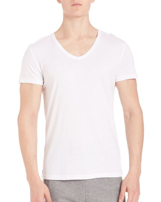 strellson slim fit v neck in white for men lyst. Black Bedroom Furniture Sets. Home Design Ideas