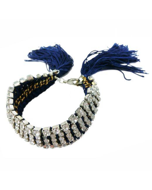 Alyssa Norton | Blue Hand Dyed & Braided Rhinestone Bracelet | Lyst