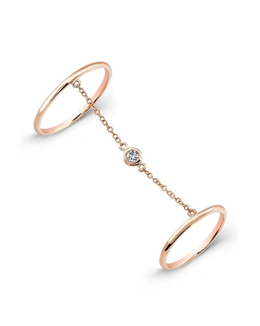 Anne Sisteron | Pink 14kt Rose Gold Solitaire Diamond Chain Ring | Lyst