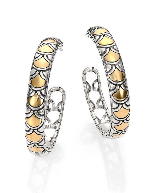 John Hardy | Metallic Naga 18k Yellow Gold & Sterling Silver Hoop Earrings/1.15 | Lyst