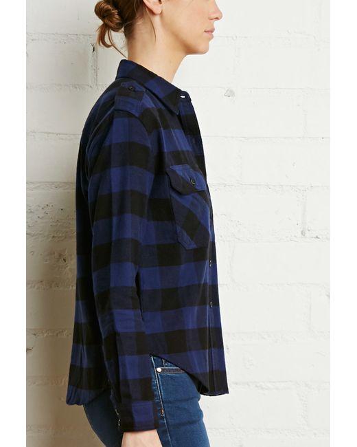 Forever 21   Blue Buffalo Plaid Flannel Shirt   Lyst
