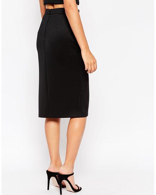 asos metal bar belt pencil skirt in black lyst