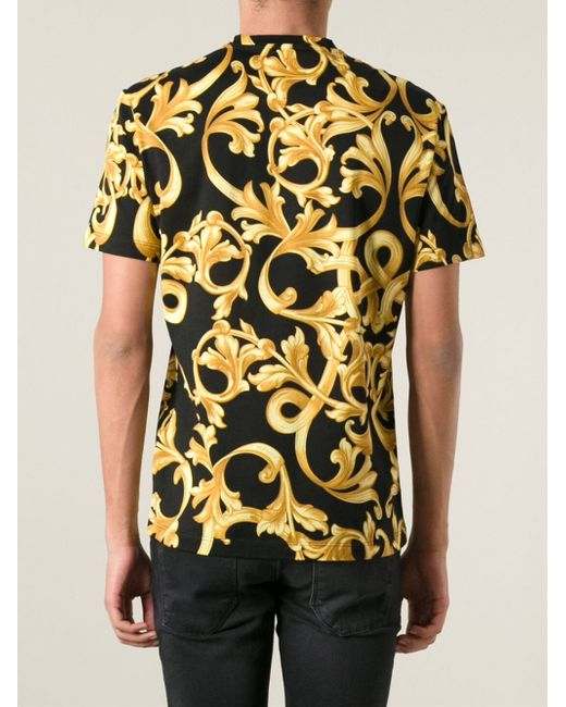 Versace baroque t shirt in black for men lyst for Versace style shirt mens