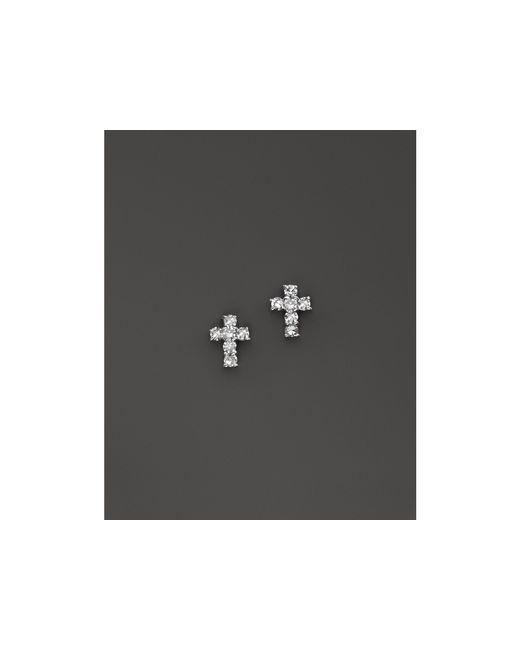 KC Designs | Metallic Diamond Small Cross Stud Earrings In 14k White Gold | Lyst