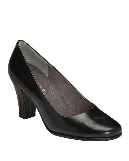 Aerosoles | Black Dolled Up Leather Pumps | Lyst