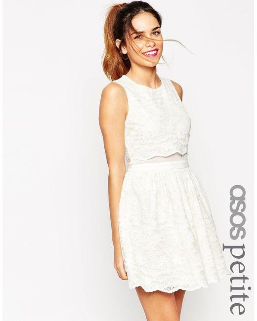 ASOS   Natural Lace Crop Top Skater Dress - Cream   Lyst