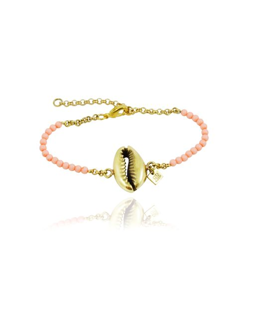 Rachael Ruddick | Metallic Shell Beaded Bracelet In Coral | Lyst