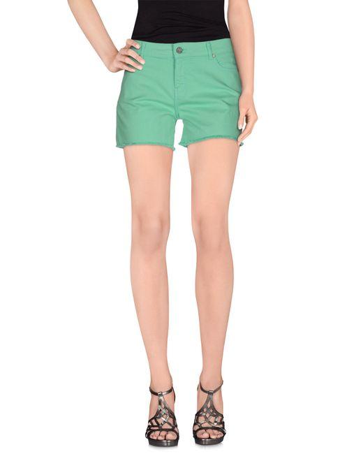ELEVEN PARIS   Green Denim Shorts   Lyst
