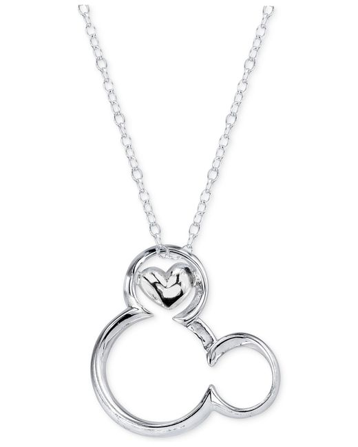 Disney | Metallic Magical Moment Mickey Heart Pendant Necklace In Sterling Silver | Lyst