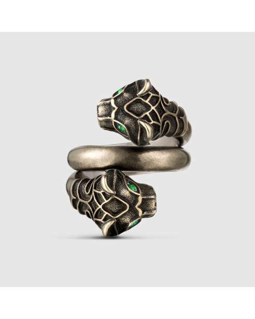 Gucci | Metallic Tiger Head Ring | Lyst