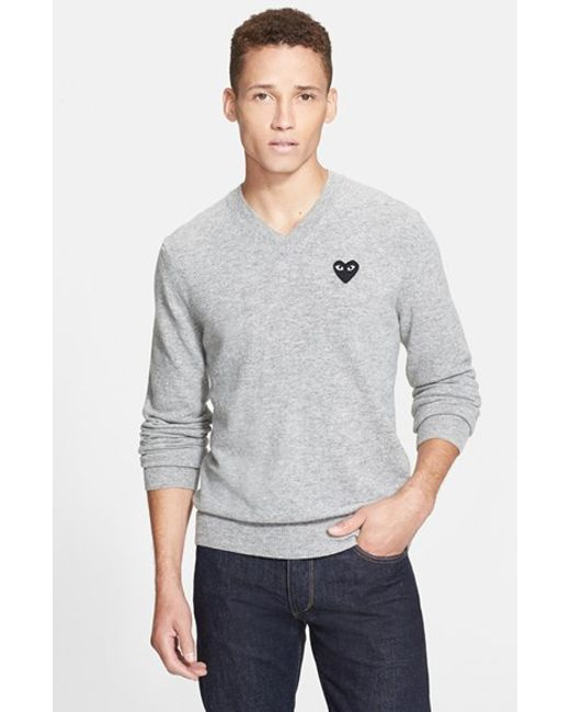 Comme des Garçons | Gray Play Wool V-neck Sweater With Heart Applique for Men | Lyst