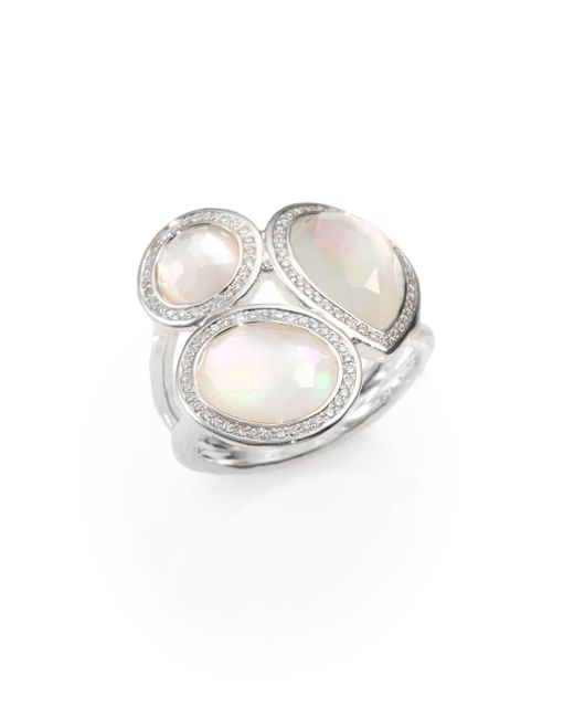 Ippolita | Metallic Stella Mother-of-pearl, Clear Quartz, Diamond & Sterling Silver Doublet Cluster Ring | Lyst
