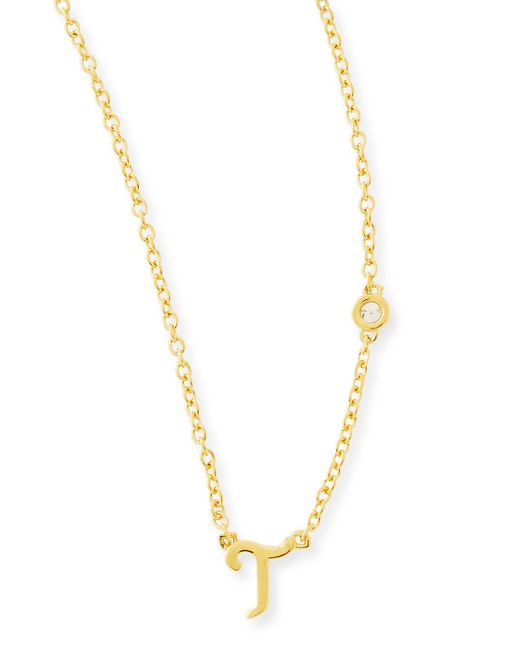 Shy By Sydney Evan | Metallic T Initial Pendant Necklace With Diamond | Lyst