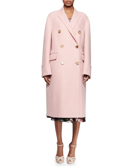 Alexander McQueen | Pink Double-breasted Long Coat | Lyst