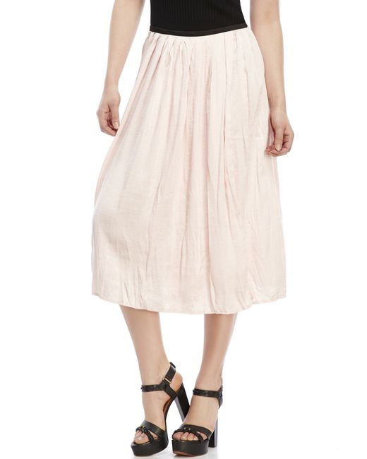 philosophy pleated midi skirt in pink blush save 66