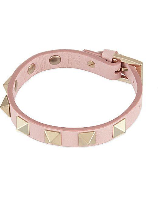 Valentino | Pink Rockstud Small Leather Bracelet | Lyst