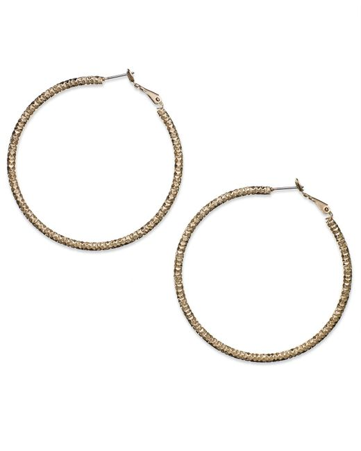 INC International Concepts | Metallic Gold-tone Large Textured Hoop Earrrings | Lyst