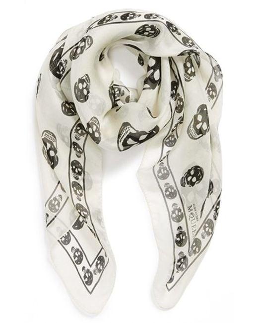 Alexander McQueen | White Skull Print Silk Chiffon Scarf for Men | Lyst