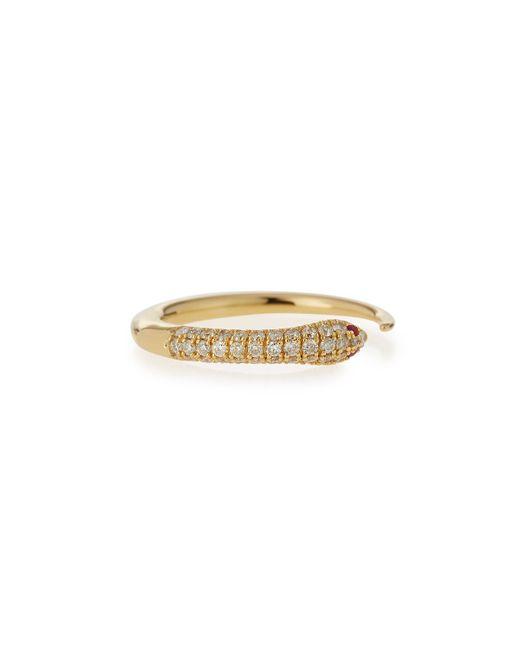 Sydney Evan | Metallic 14k Pave Diamond Skinny Snake Ring | Lyst