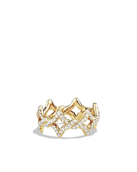 David Yurman | Metallic Venetian Quatrefoil Ring With Diamonds In Gold | Lyst