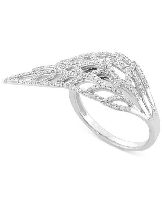 wrapped feather ring 1 2 ct t w in 10k white