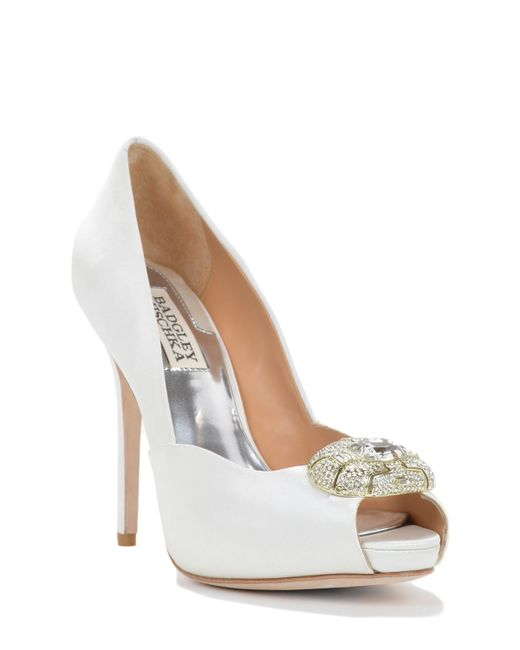 Badgley Mischka | White Pearla Embellished Satin Pumps | Lyst