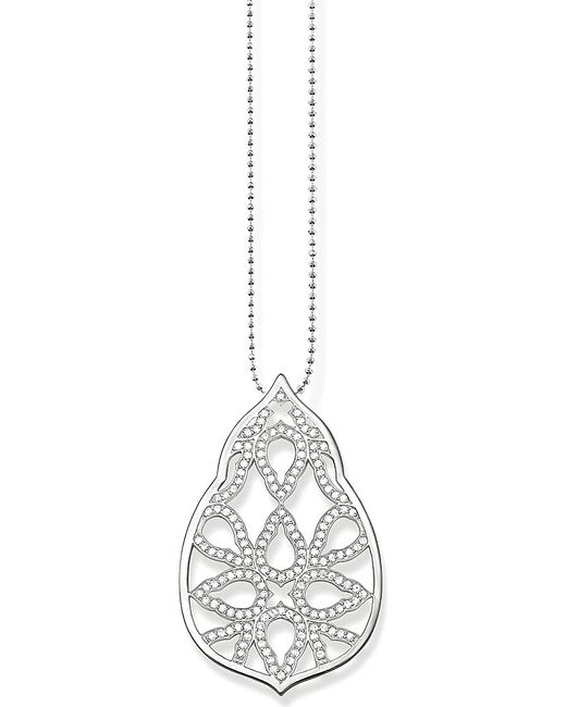 Thomas Sabo | Metallic Fatima's Garden Oriental Sterling Silver And White Pavé Zirconia Pendant Necklace | Lyst