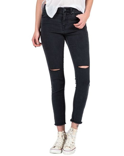 Volcom Distressed High Waist Ankle Skinny Jeans in Black | Lyst