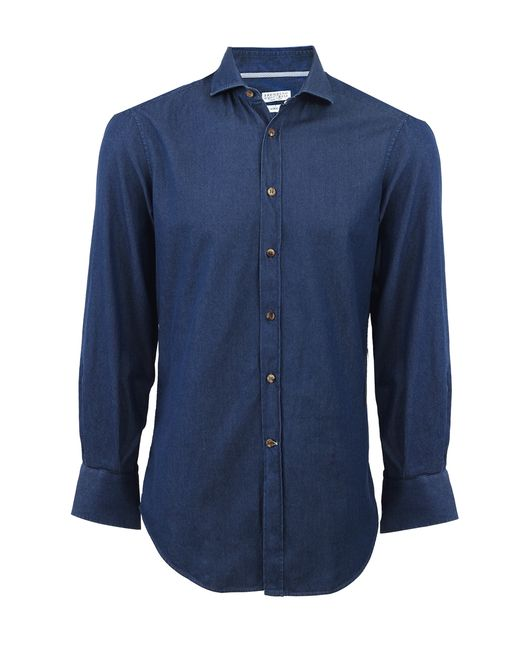 Brunello cucinelli chambray spread collar shirt in blue for Men s spread collar shirts