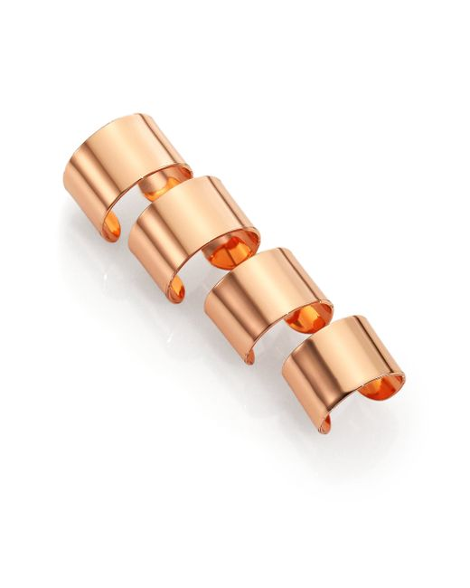 Maison Margiela | Pink Knuckle Duster Four-band Ring Set/rose Goldtone | Lyst