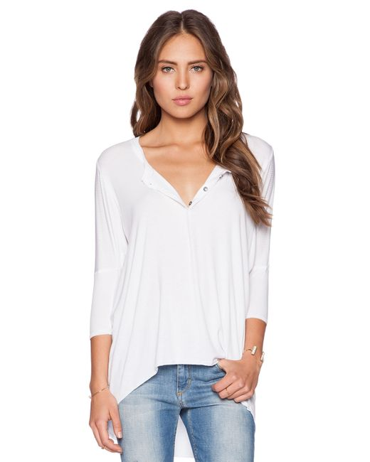 Dolan 3 4 sleeve henley tee in white save 45 lyst for 3 4 henley shirt