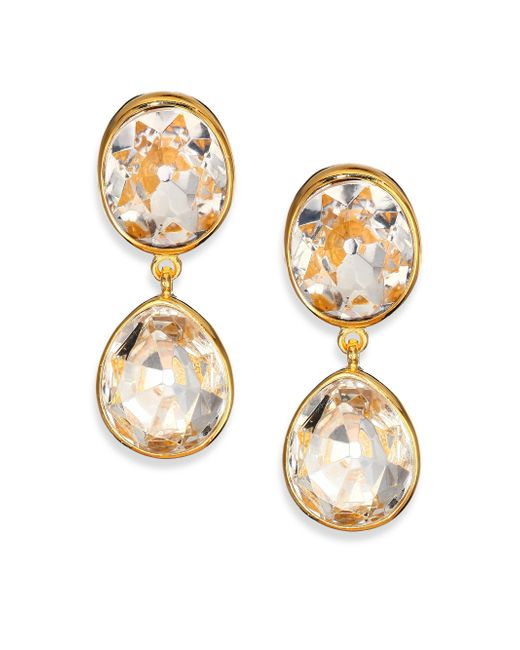 Kenneth Jay Lane | Metallic Jeweled Clip-on Drop Earrings | Lyst