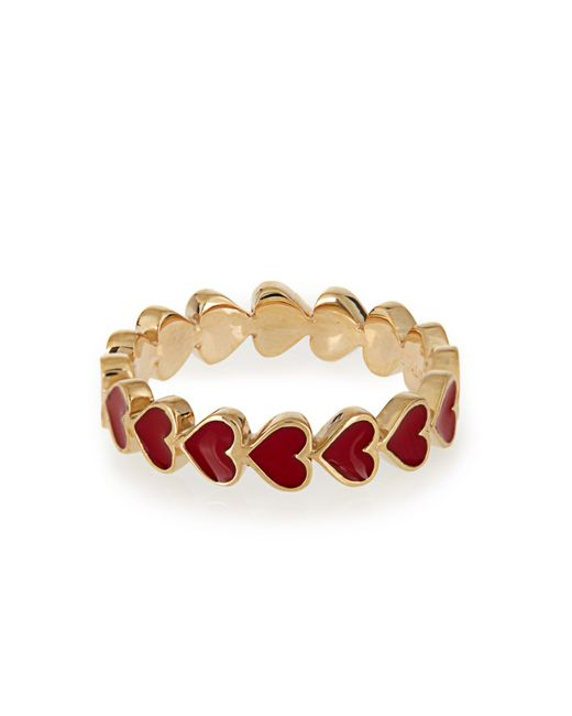 Alison Lou | Red Enamel & Yellow-gold Heart Ring | Lyst