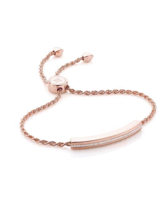 Monica Vinader | Pink Linear Diamond Chain Bracelet | Lyst