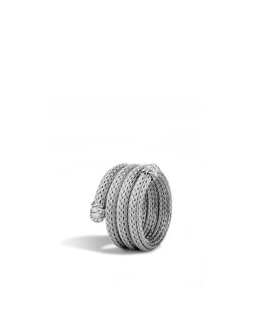 John Hardy | Metallic Classic Chain Coil Ring With Diamonds | Lyst