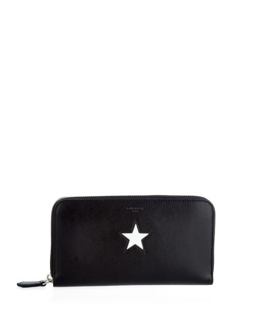 Burberry Embossed Leather Zip Around Wallet: Givenchy Star-Embossed Zip-Around Leather Wallet In Black