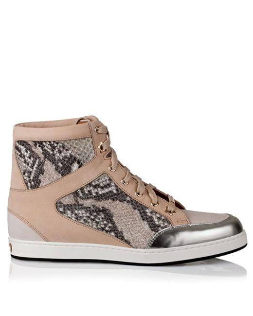 Jimmy Choo | Pink Tokyo Snake Print Glitter Sneaker | Lyst