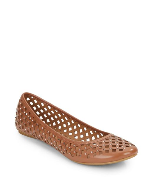 Kenneth Cole Reaction   Brown Slip Gloss Embellished Cutout Flats   Lyst